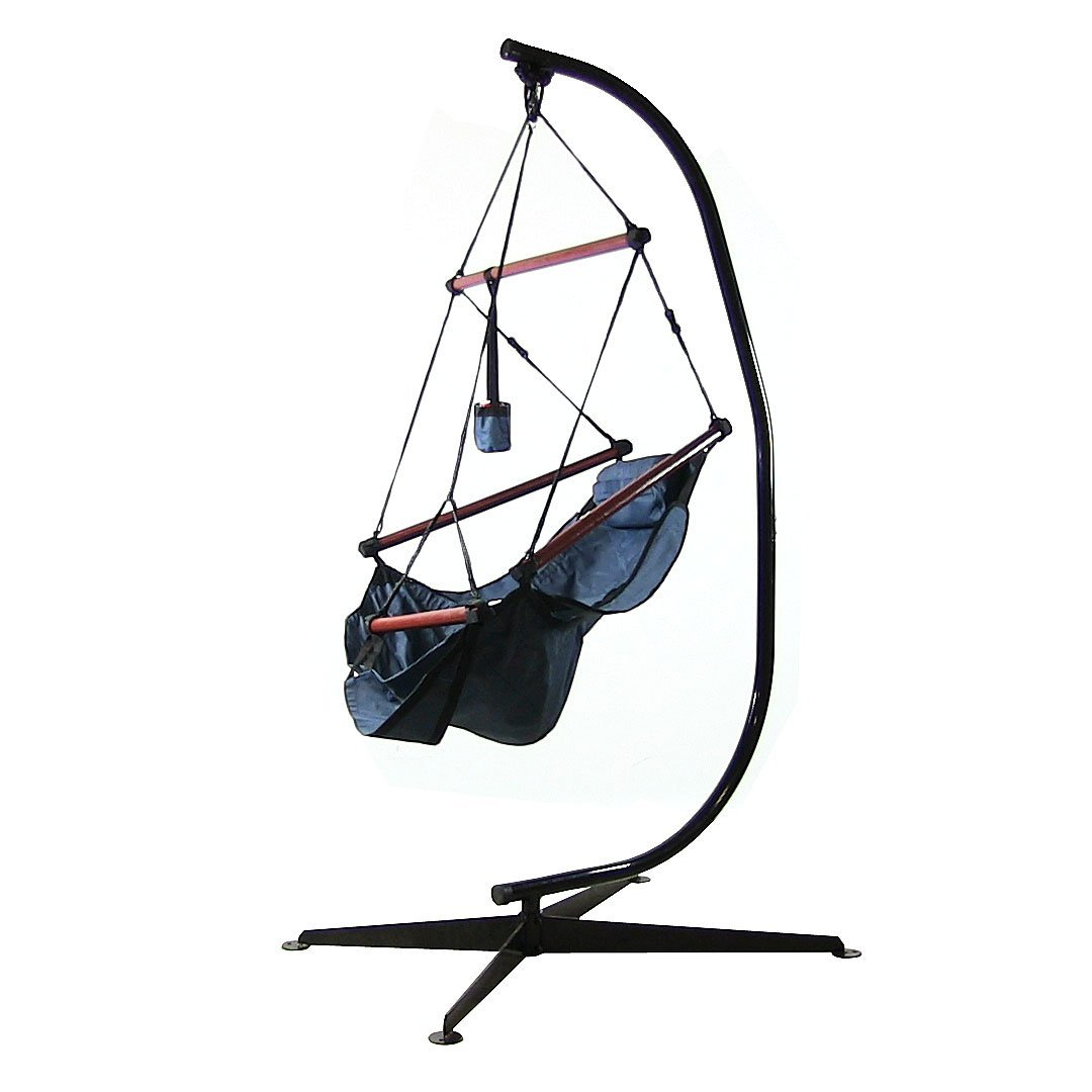 Hanging Hammock Chair Pillow Drink Holder Stand Solid Wood Bars Wide Seat Blue Photo
