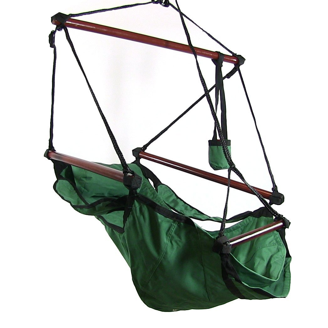 Sunnydaze deluxe hanging hammock air chair swing with for Hanging couch swing