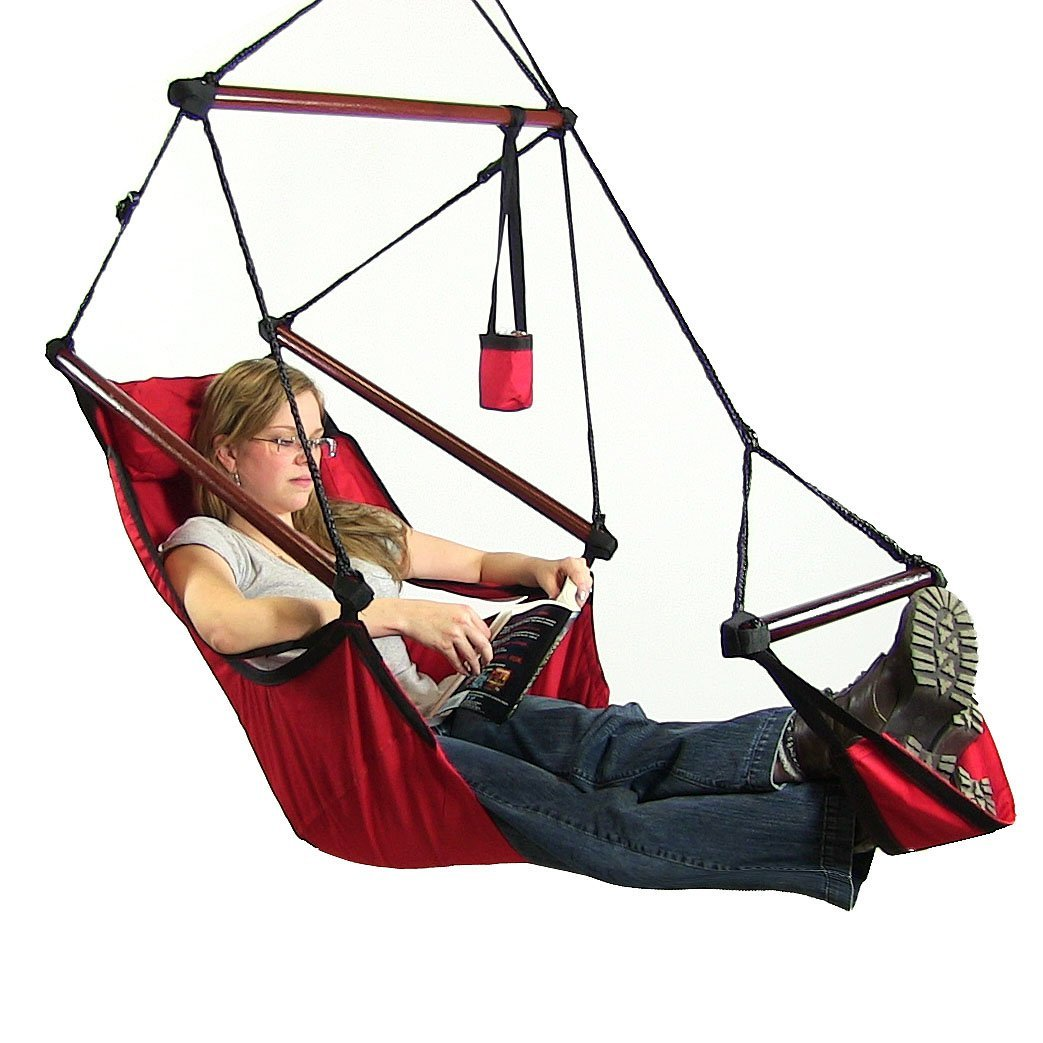 Sunnydaze Deluxe Hanging Hammock Air Chair Swing With