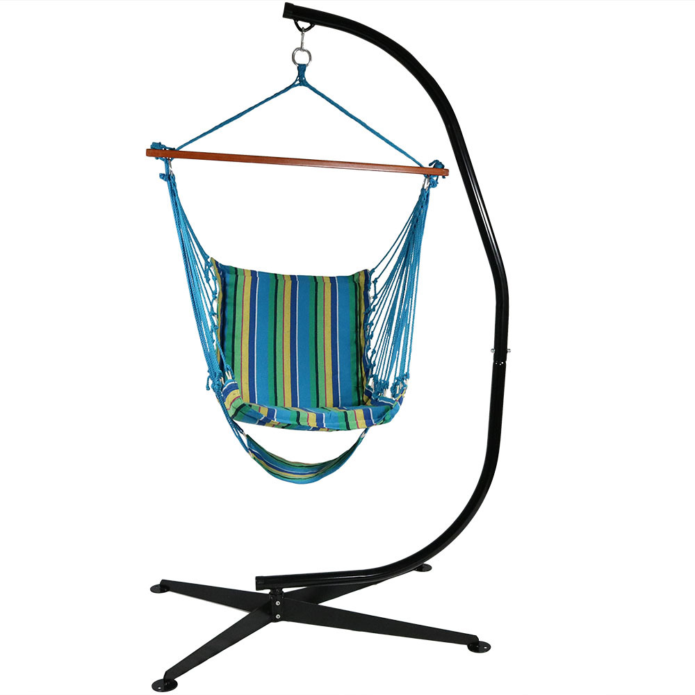 Hanging Padded Soft Cushioned Hammock Chair Footrest Stand Wide Seat Ocean Breeze Photo