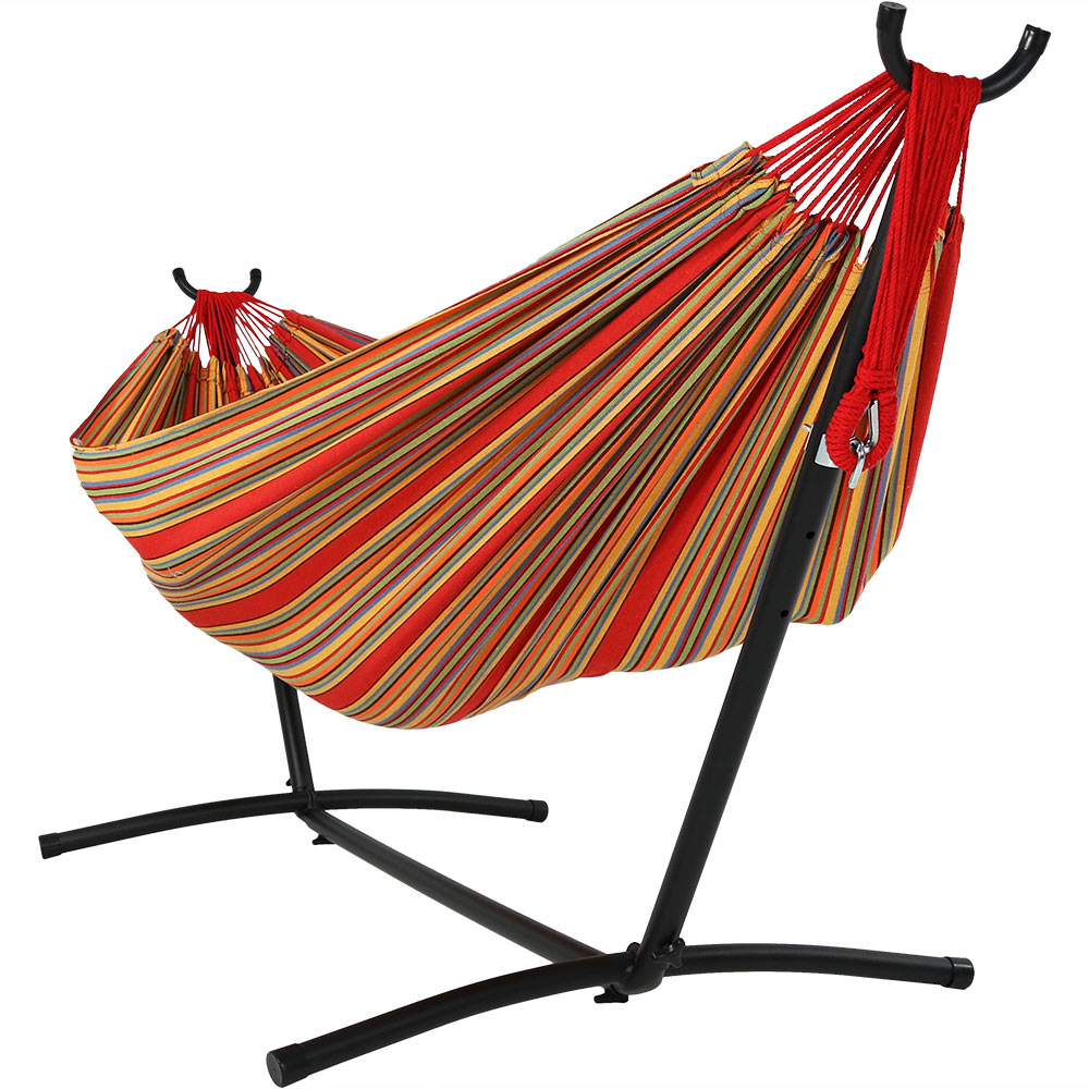 Freestanding Double Hammock Stand Carry Bag Sunset