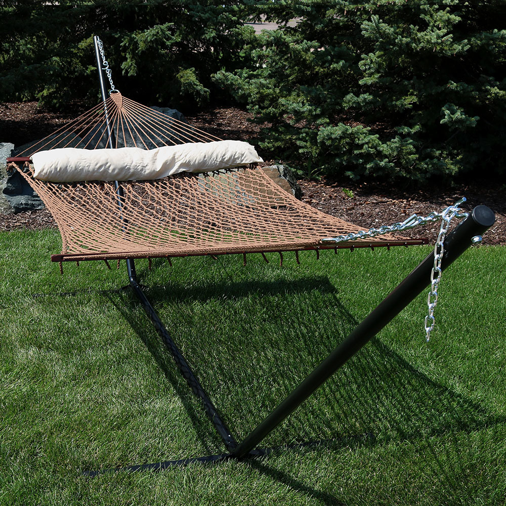 Sunnydaze Person Polyester Spreader Bar Rope Hammock Pillow Picture 428