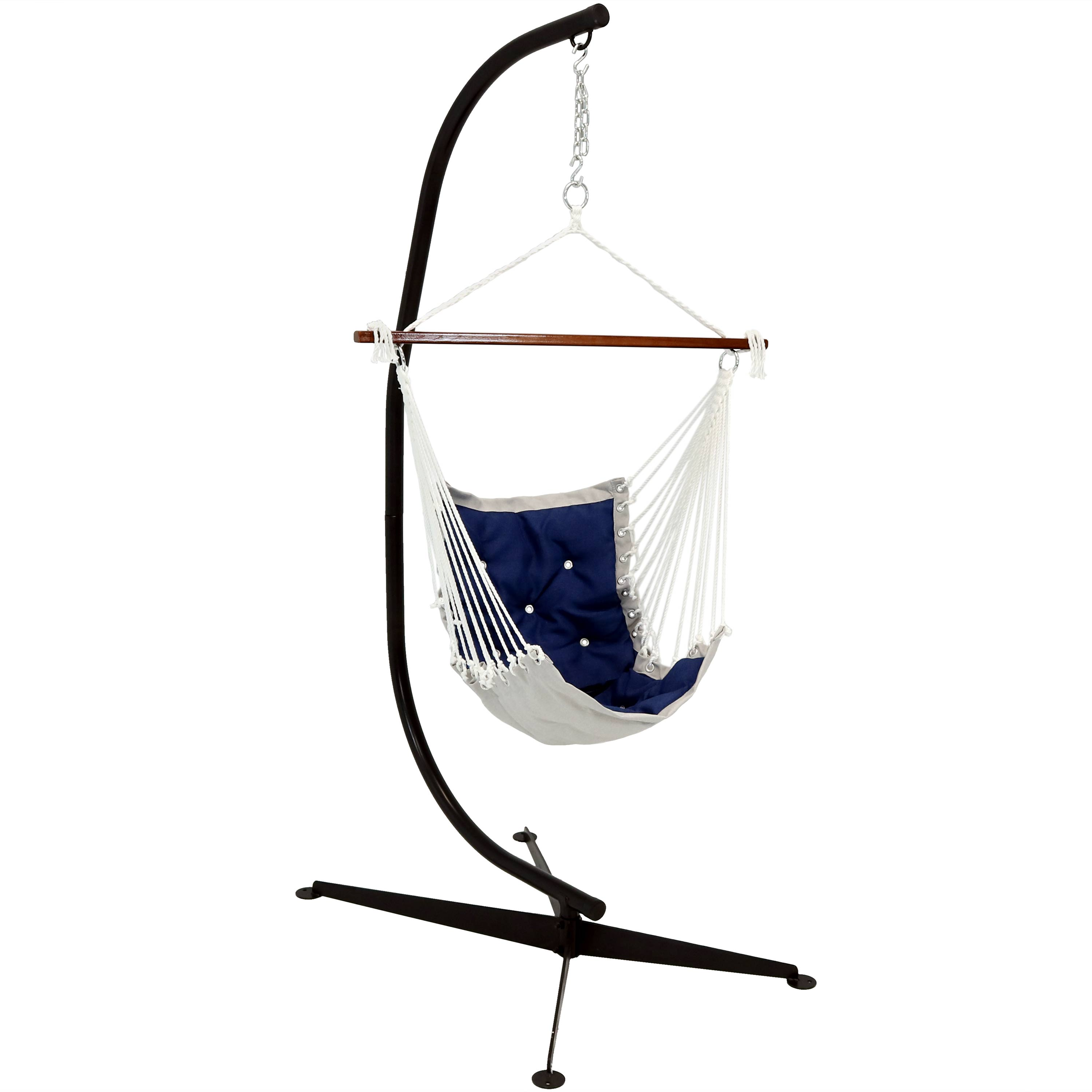 Tufted Hammock Swing Stand Navy Blue Photo