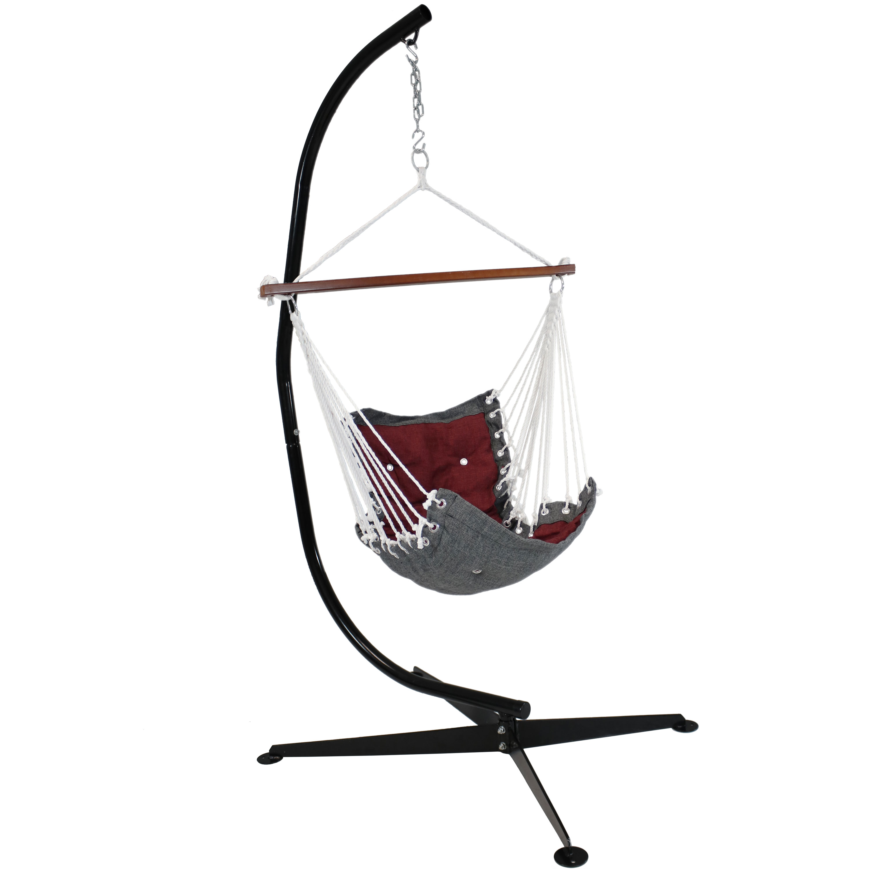 Tufted Hanging Rope Hammock Chair Stand Swing Seat Red Photo