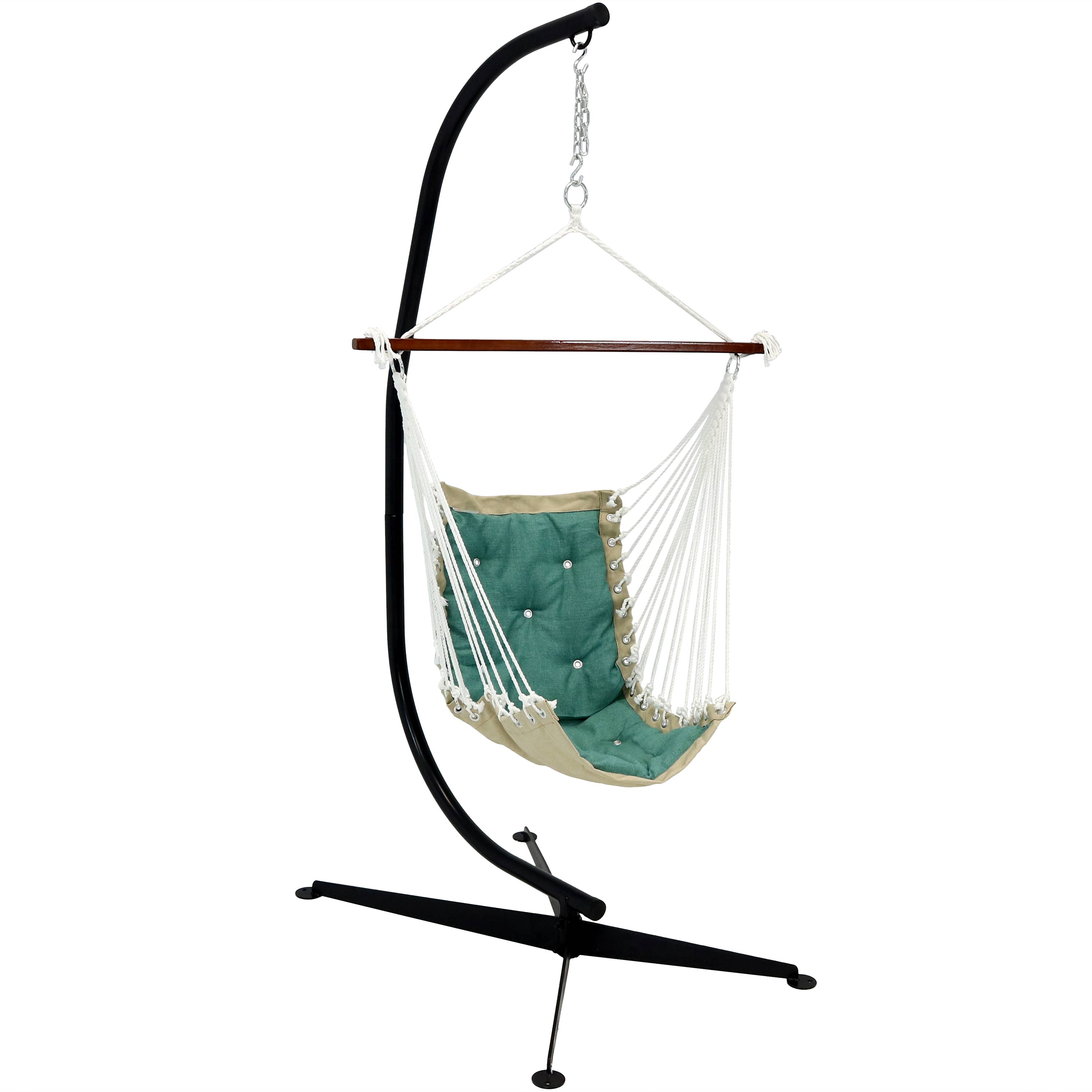 Tufted Hanging Rope Hammock Chair Stand Swing Seat Sea Green Photo