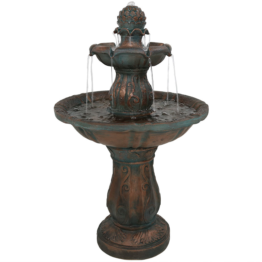 Sunnydaze Two-Tiered Patina Pineapple Outdoor Garden Water Fountain, 29 Inch Tall