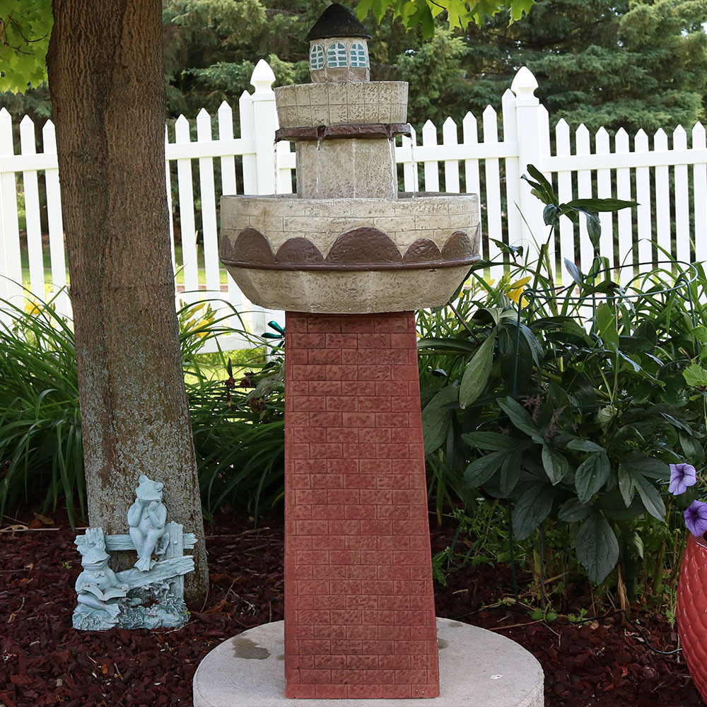 Sunnydaze Brick Lighthouse Outdoor Water Fountain Photo