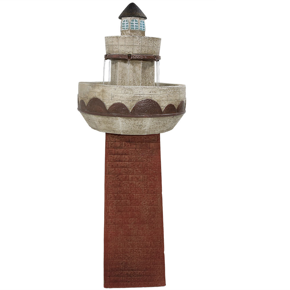 Sunnydaze Outdoor Brick Lighthouse Water Fountain with LED Light, 36 Inches Tall
