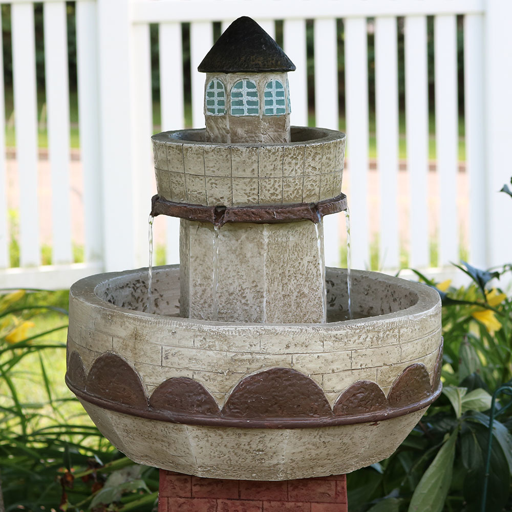 Brick Lighthouse Coastal Outdoor Water Fountain W Led