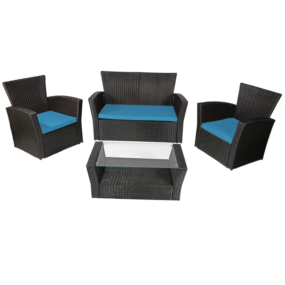 Brisbane Rattan Patio Set Blue Cushions Photo