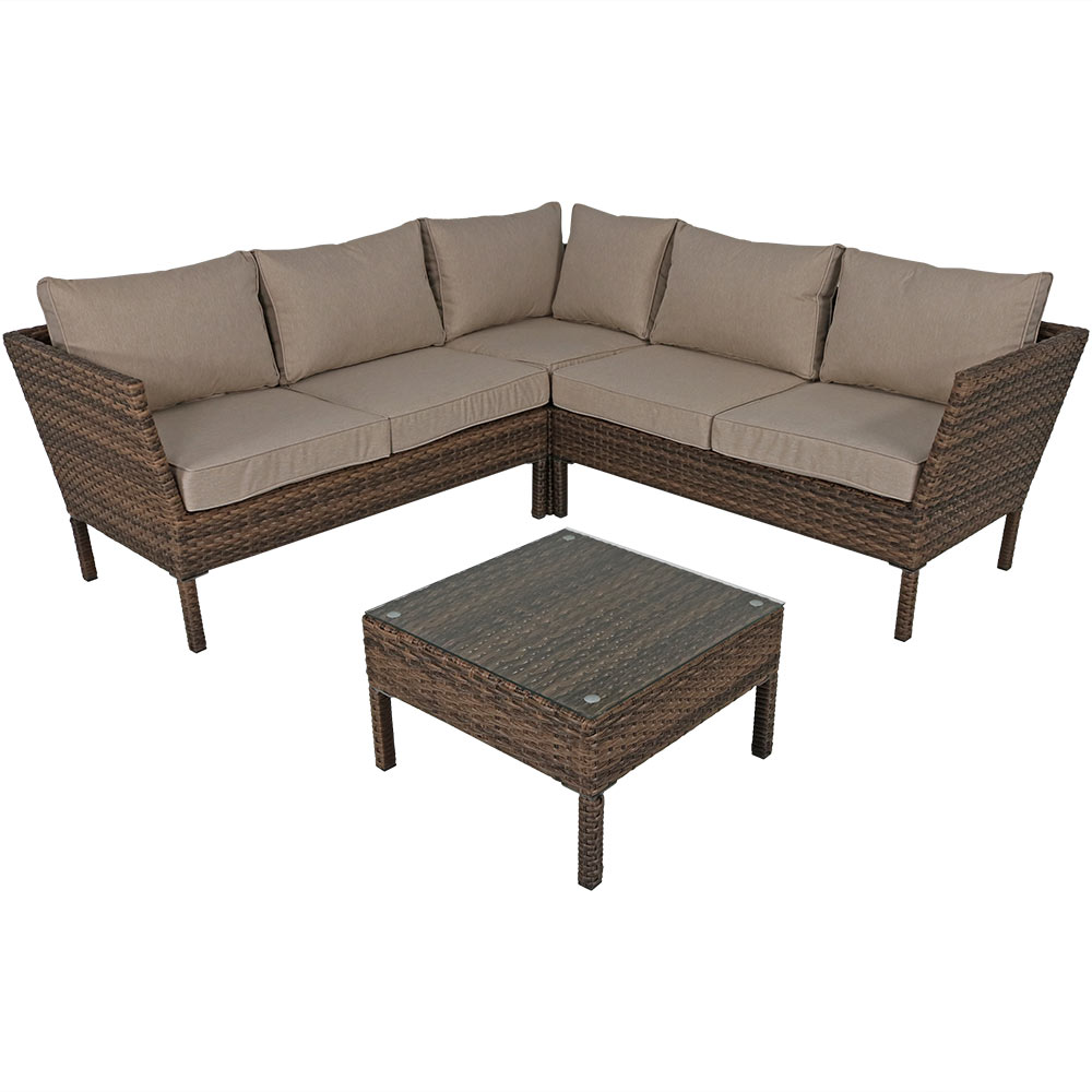 Avel Wicker Rattan Sofa Sectional Patio Set Taupe Cushions Photo