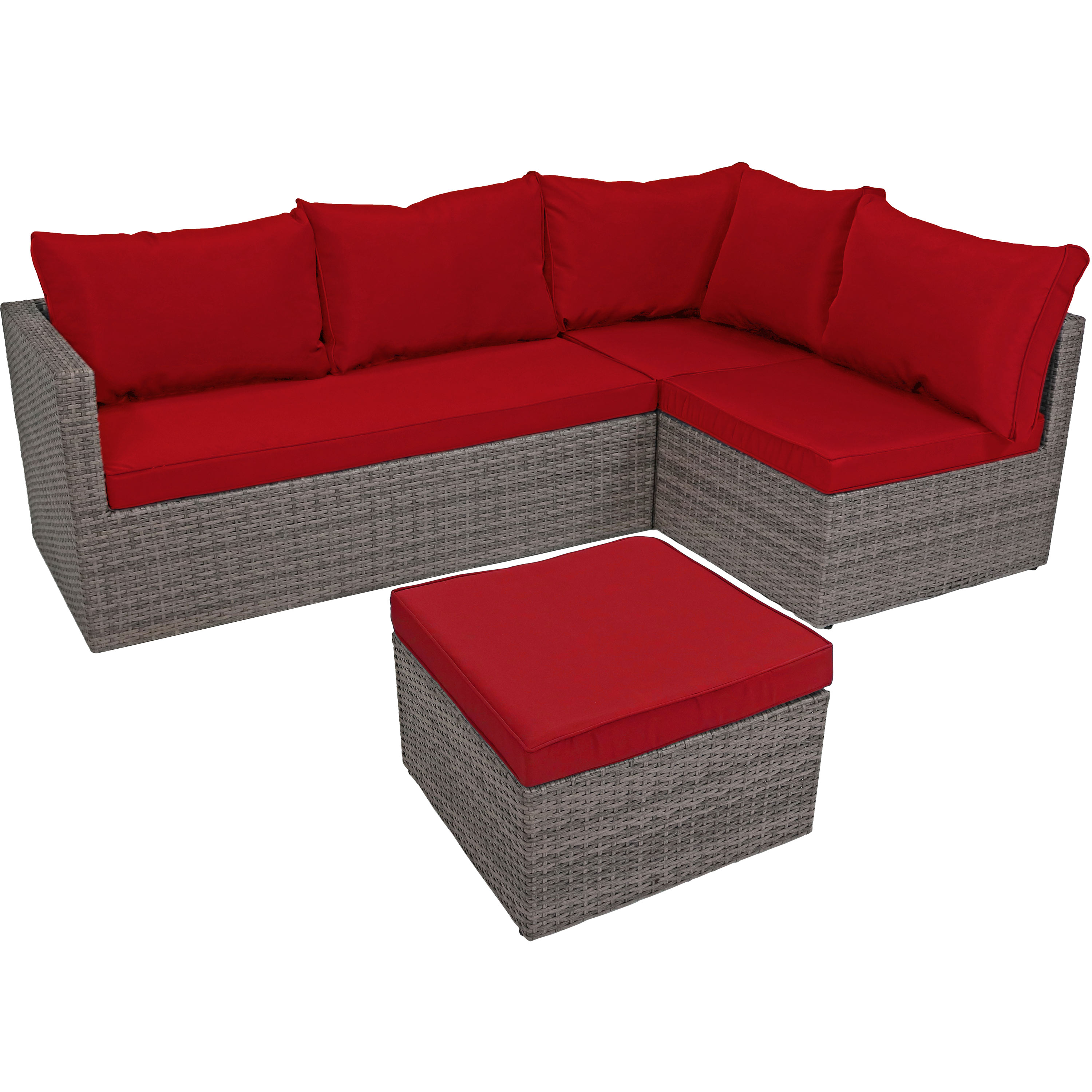 Port Antonio Wicker Rattan Patio Sofa Sectional Set Dark Red Cushions Photo