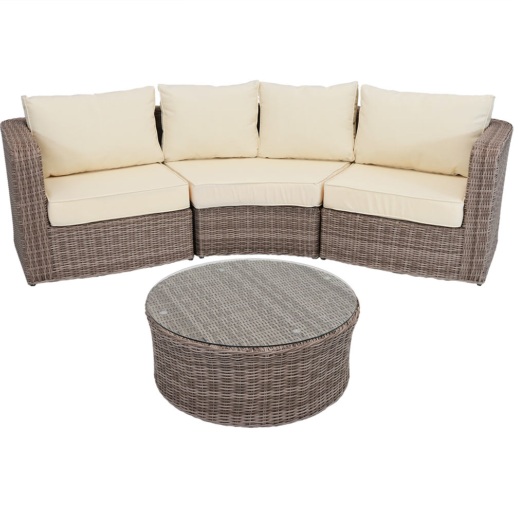 Mollendo Wicker Rattan Sofa Sectional Patio Set Frame Thick Beige Cushions Photo