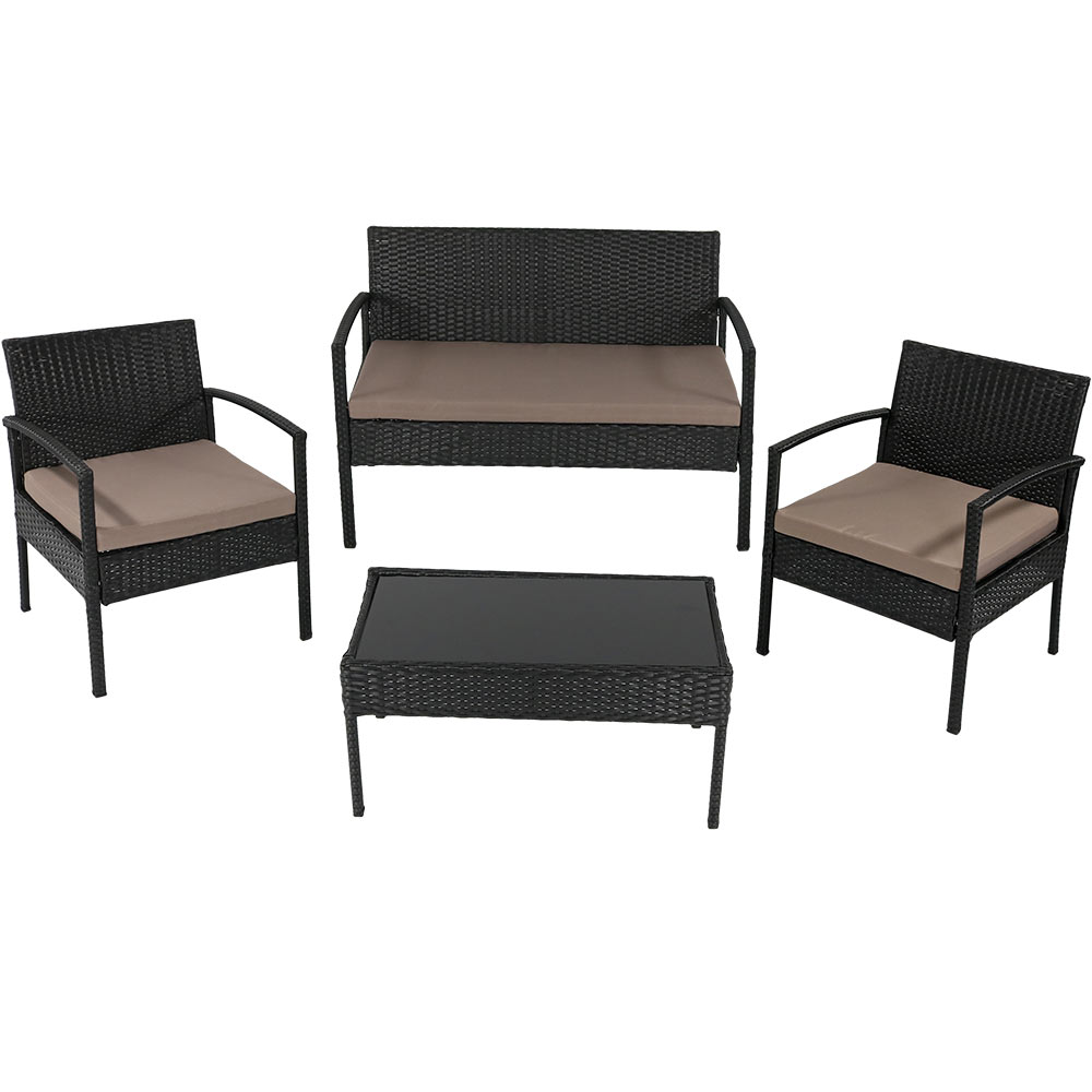 Anadia Rattan Lounger Patio Set Black Wicker Taupe Cushions Photo