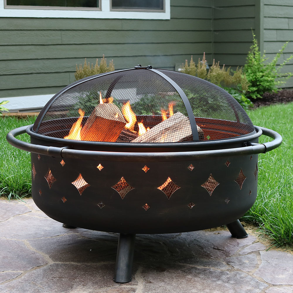 Sunnydaze Brushed Metal Diamonds Fire Pit Picture 441