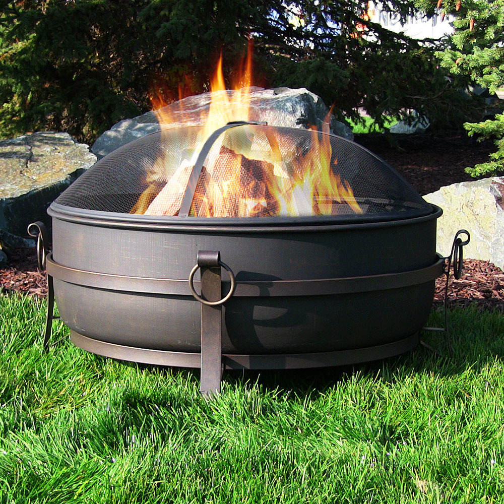 Sunnydaze Large Steel Cauldron Fire Pit Picture 376