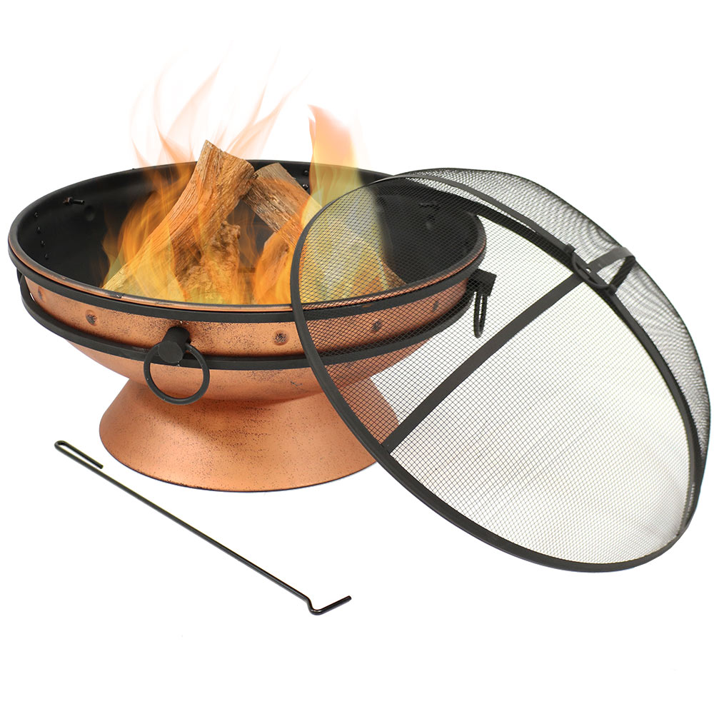 Fire Pit Bowl Round Wood Burning Patio Firebowl Portable Handles Spark Screen Photo