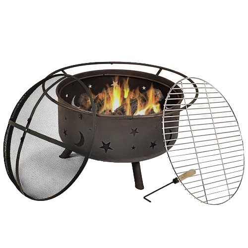 Cosmic Fire Pit Round Bonfire Wood Burning Patio Backyard Firepit Cooking Bbq Grill Grate  Photo