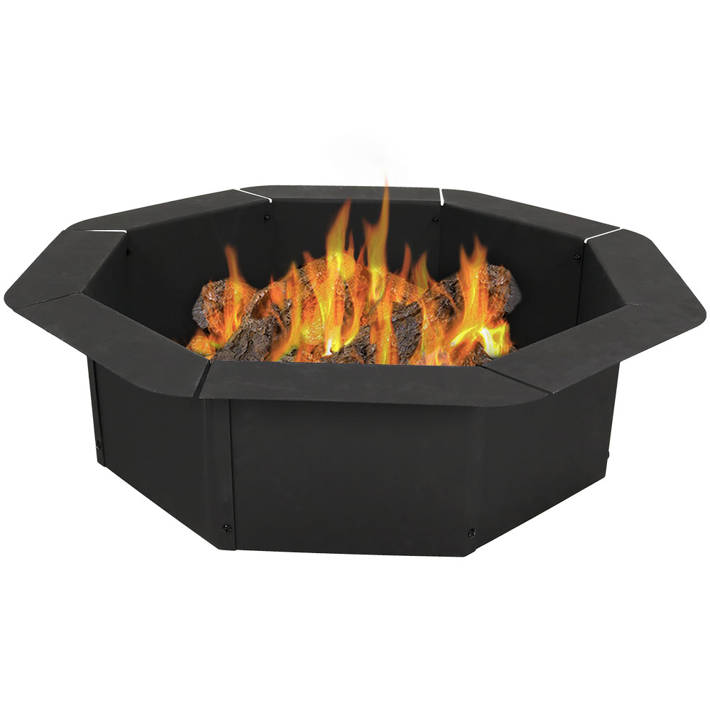 Octagon Fire Ring Insert Diy Fire Pit Rim Liner Above In Ground . Mm Thick Steel Photo