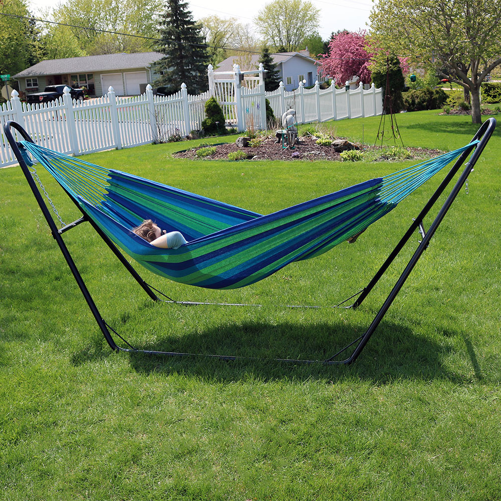 sunnydaze brazilian cotton 2 person hammock amp universal  sunnydaze brazilian cotton 2 person hammock  u0026 universal stand      rh   ebay