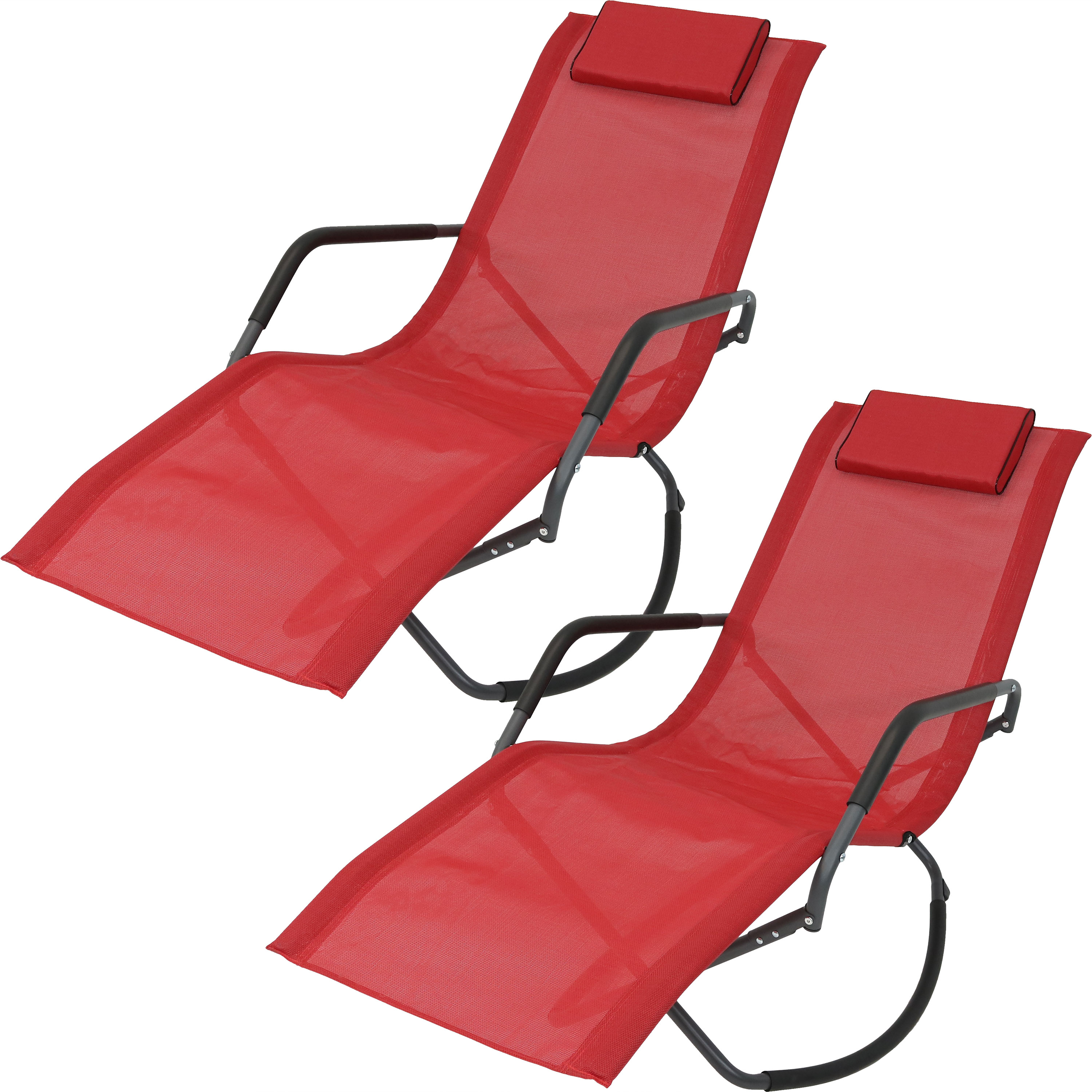 Rocking Chaise Lounge Chair Headrest Pillow Folding Patio Lounger Red Photo