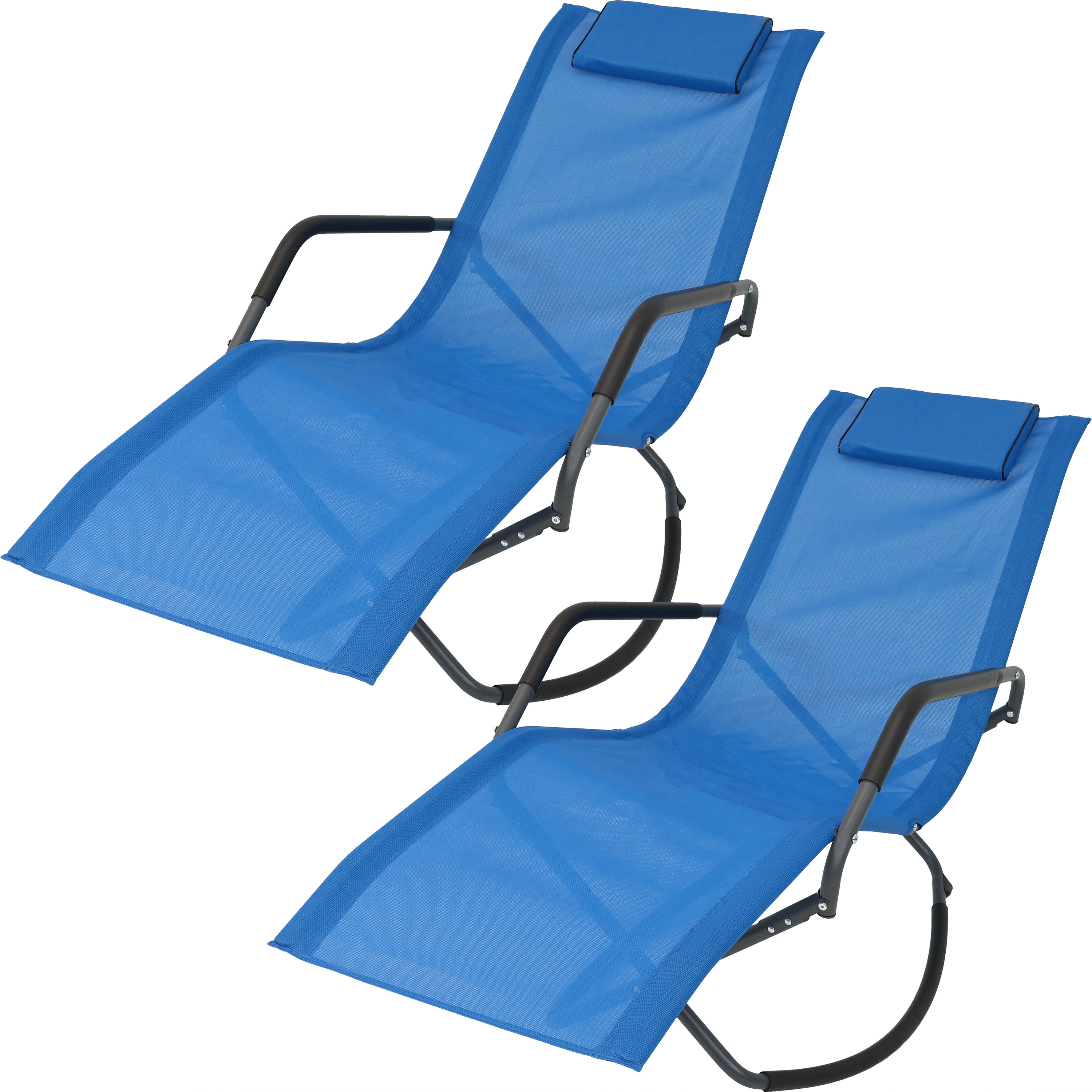 Rocking Chaise Lounge Chair Headrest Pillow Folding Patio Lounger Blue Photo