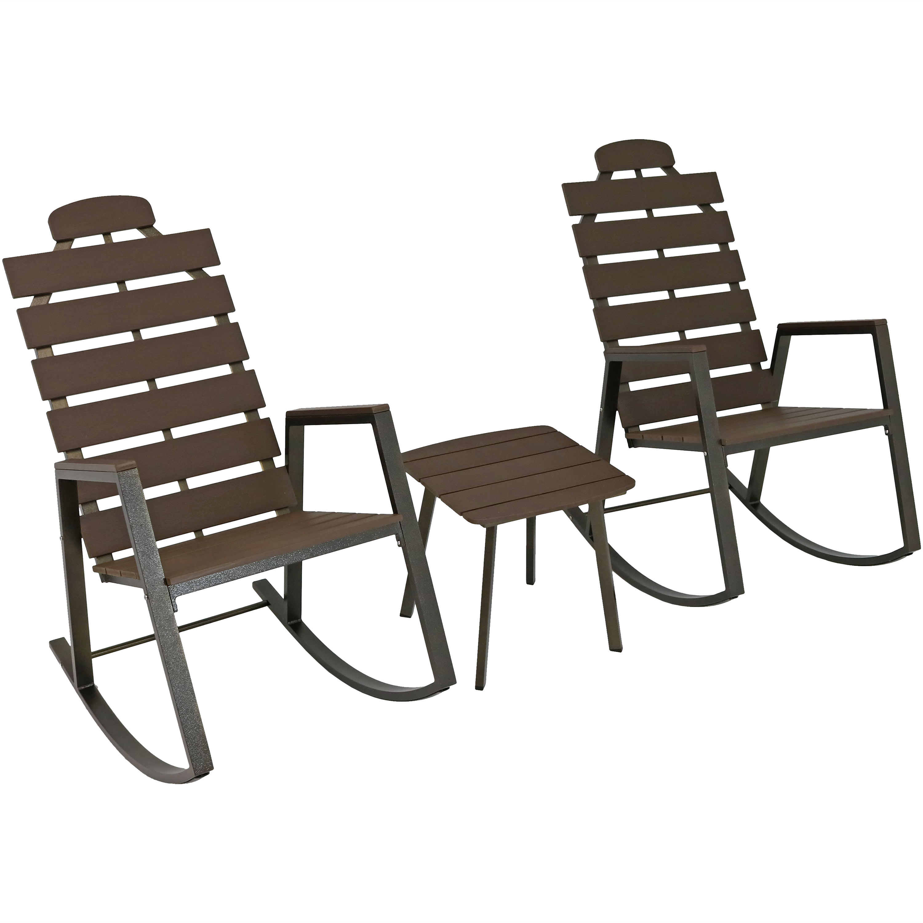 Slatted Patio Rocking Chairs Side Table Front Porch Set Faux Wood Design