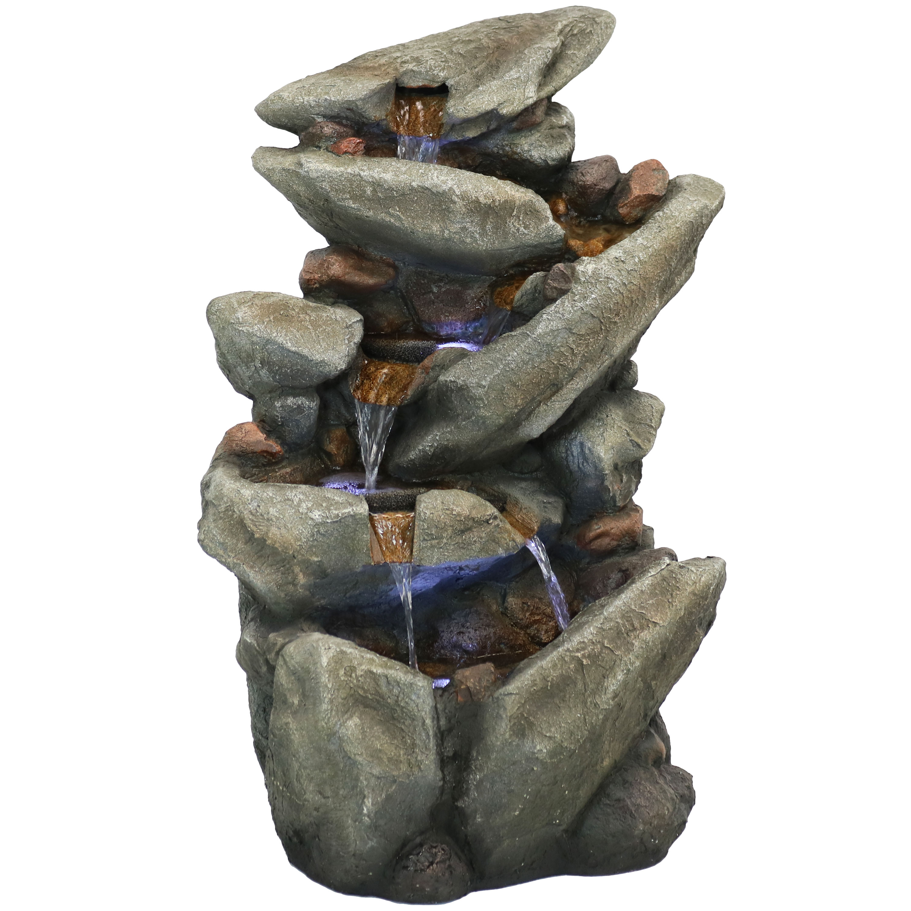 Streaming Tilted Rocks Water Fountain Led Lights Submersible Pump