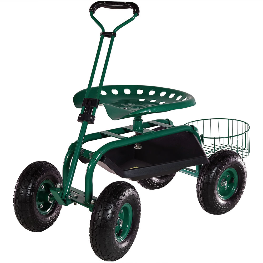 Rolling Garden Cart W Extendable Steering Handle Pneumatic Multiple Colors Ebay