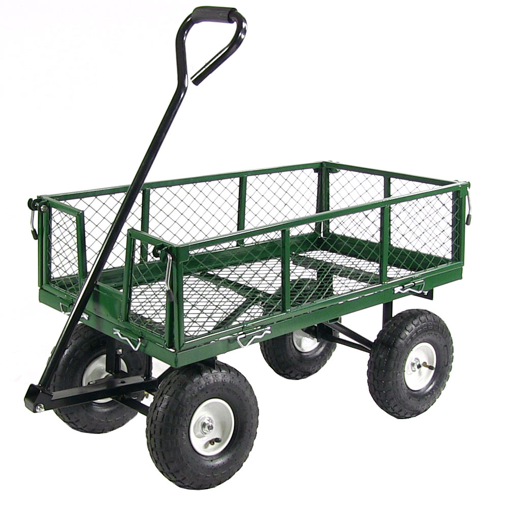 Sunnydaze Garden Cart, Heavy Duty Collapsible Utility Wagon, 400 Pound Capacity, Green