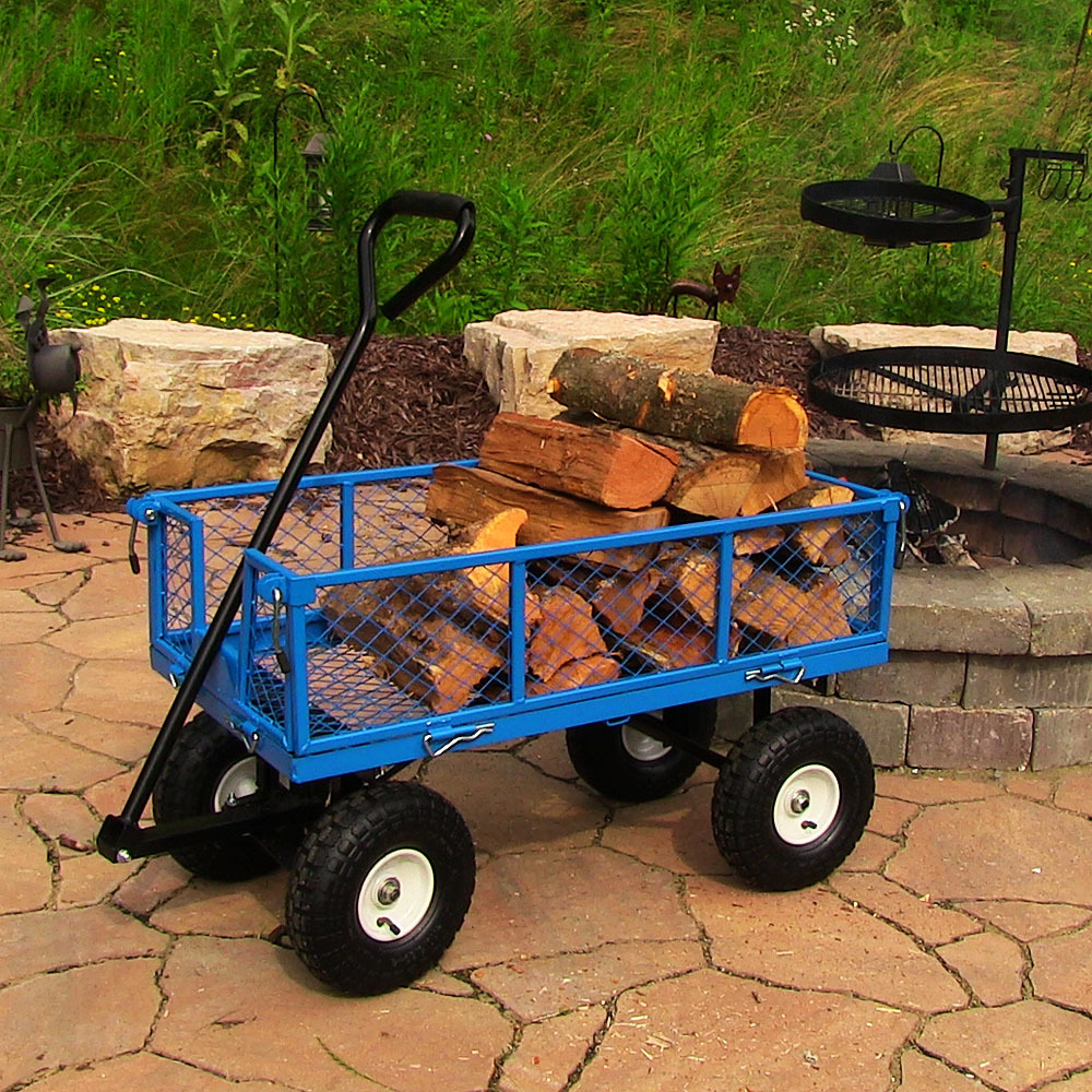 Sunnydaze Blue Heavy Duty Steel Log Cart es Long es Wide Pound Weight Capacity Picture 675