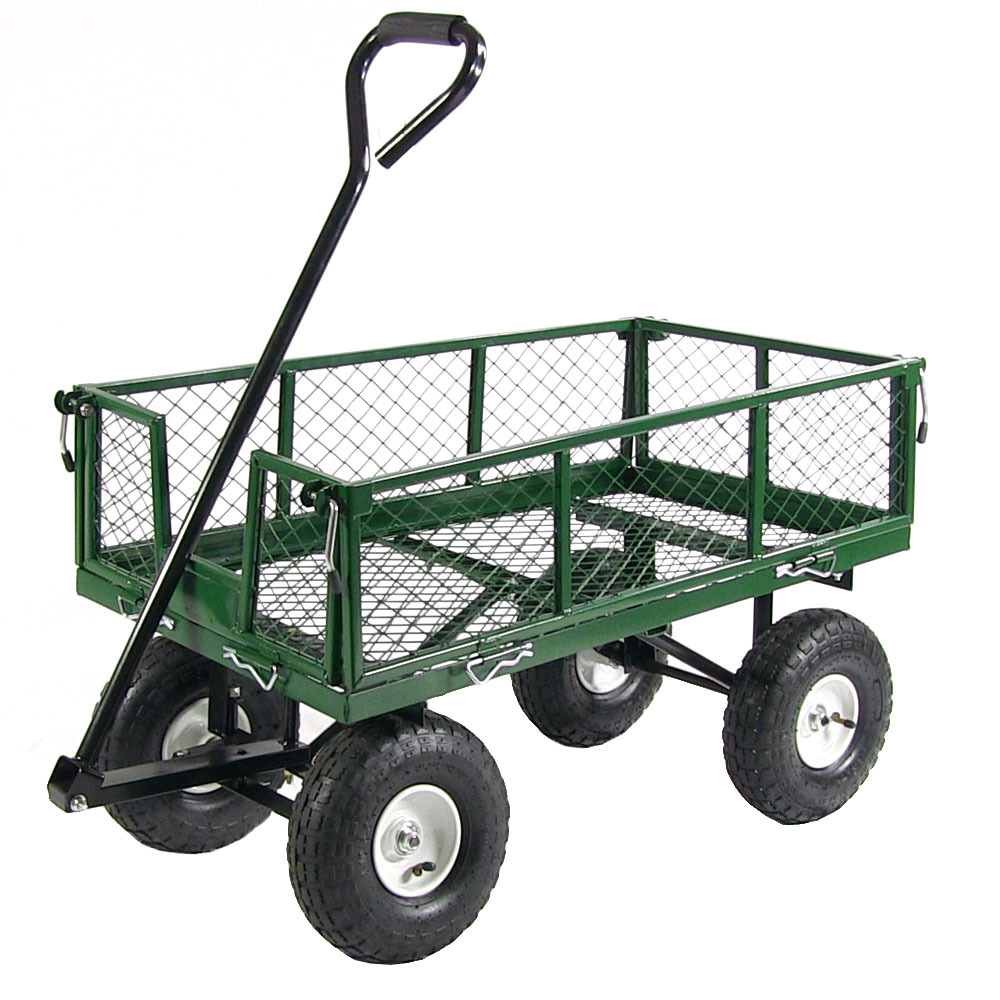 Sunnydaze Utility Cart with Removable Folding Sides, Heavy-Duty 400 Pound Weight Capacity, Green