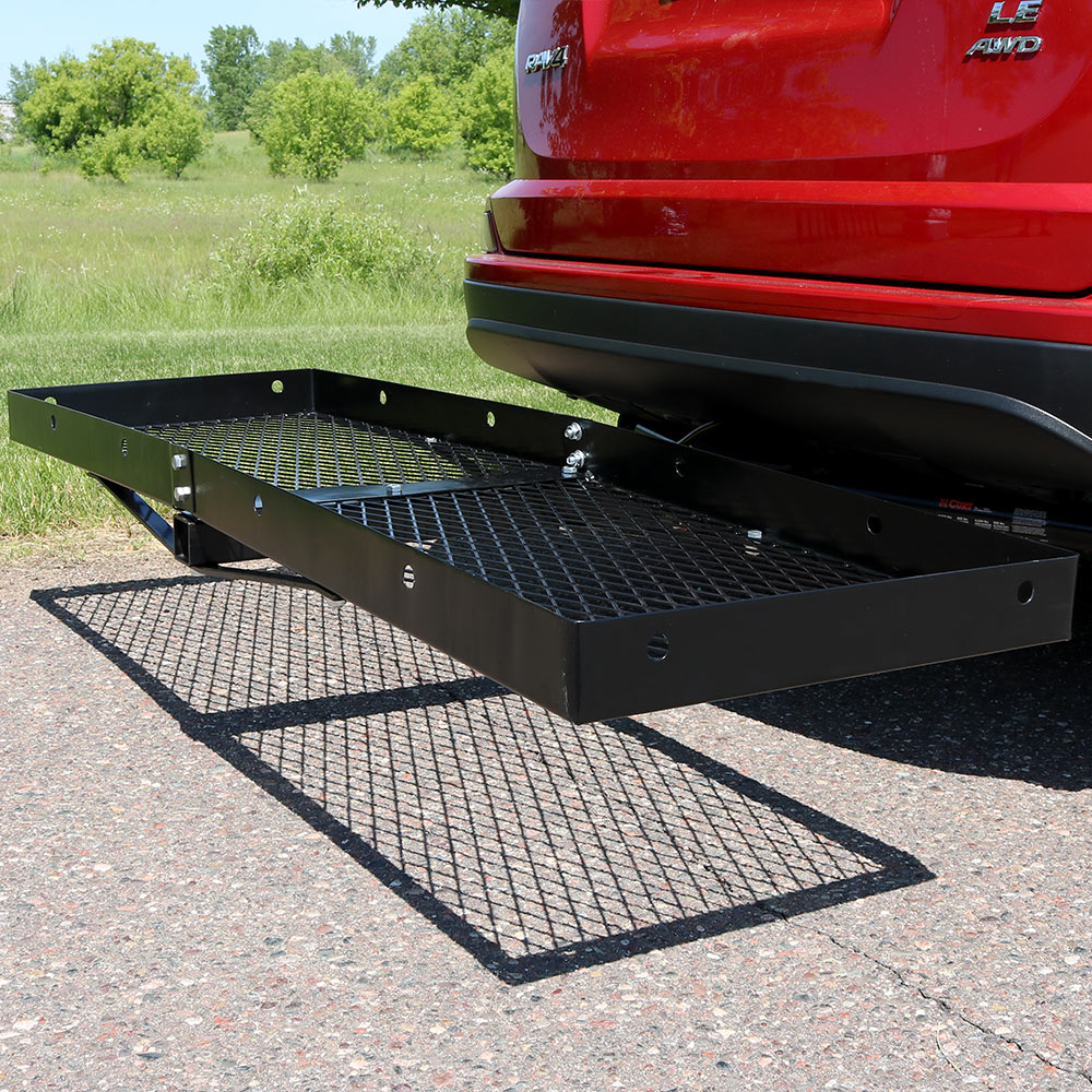 Sunnydaze Trailer Hitch Cargo Carrier - 500 Pound Load Capacity Car Rack Cargo Carrier Hitch Mount Basket with 2 Inch Receiver - 60 Inch Wide x 20 Inch Long