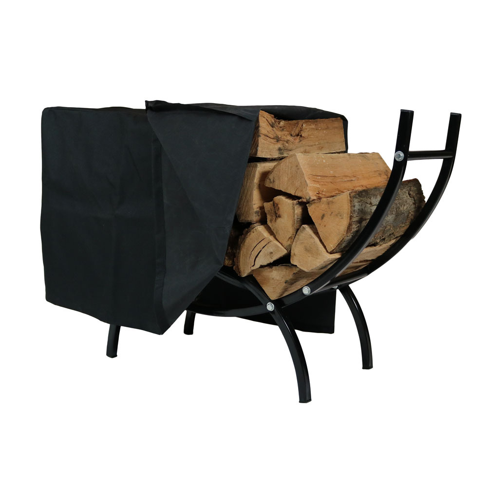 Curved Firewood Log Rack Cover Combo Fireplace Wood Storage Stand Foot Photo