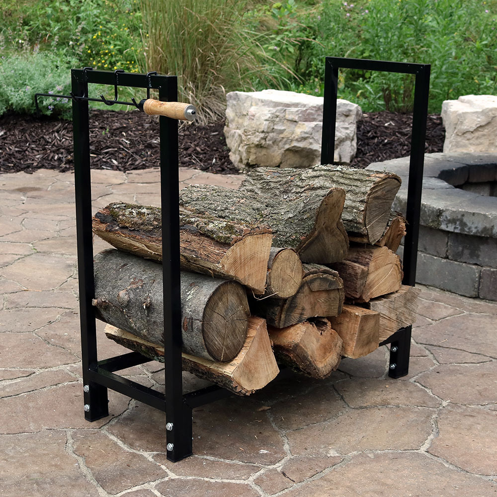 Sunnydaze Indoor Outdoor Steel Firewood Log Rack Cover Combo Picture 790