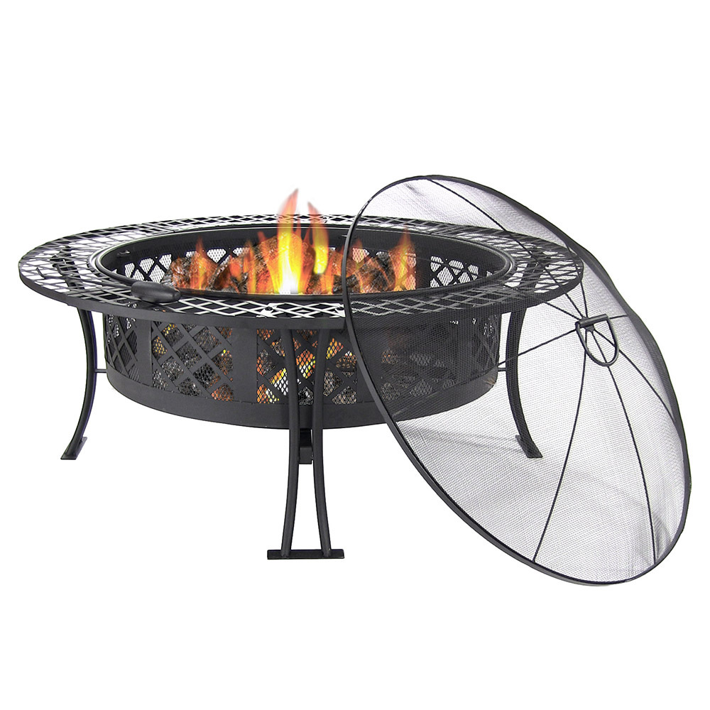 Diamond Weave Fire Pit Spark Screen Wood Burning Patio Firepit Bowl Photo