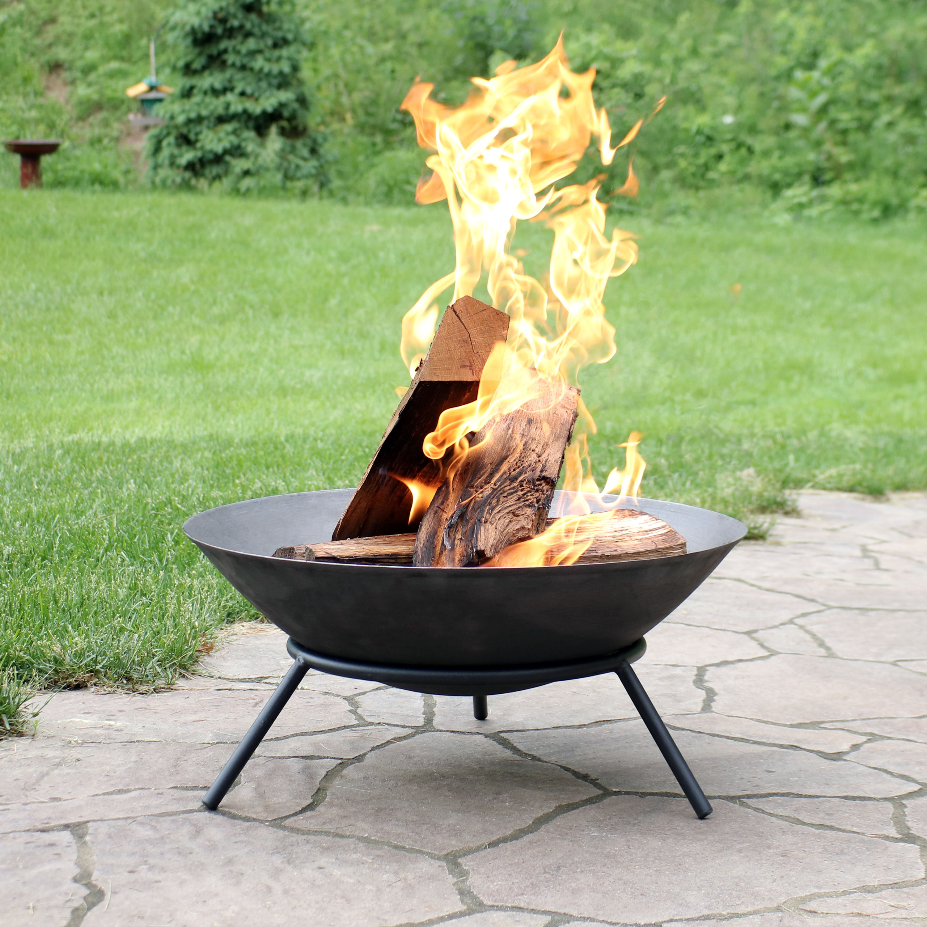 22 Raised Bowl Cast Iron Fire Pit Bowl with Steel Finish