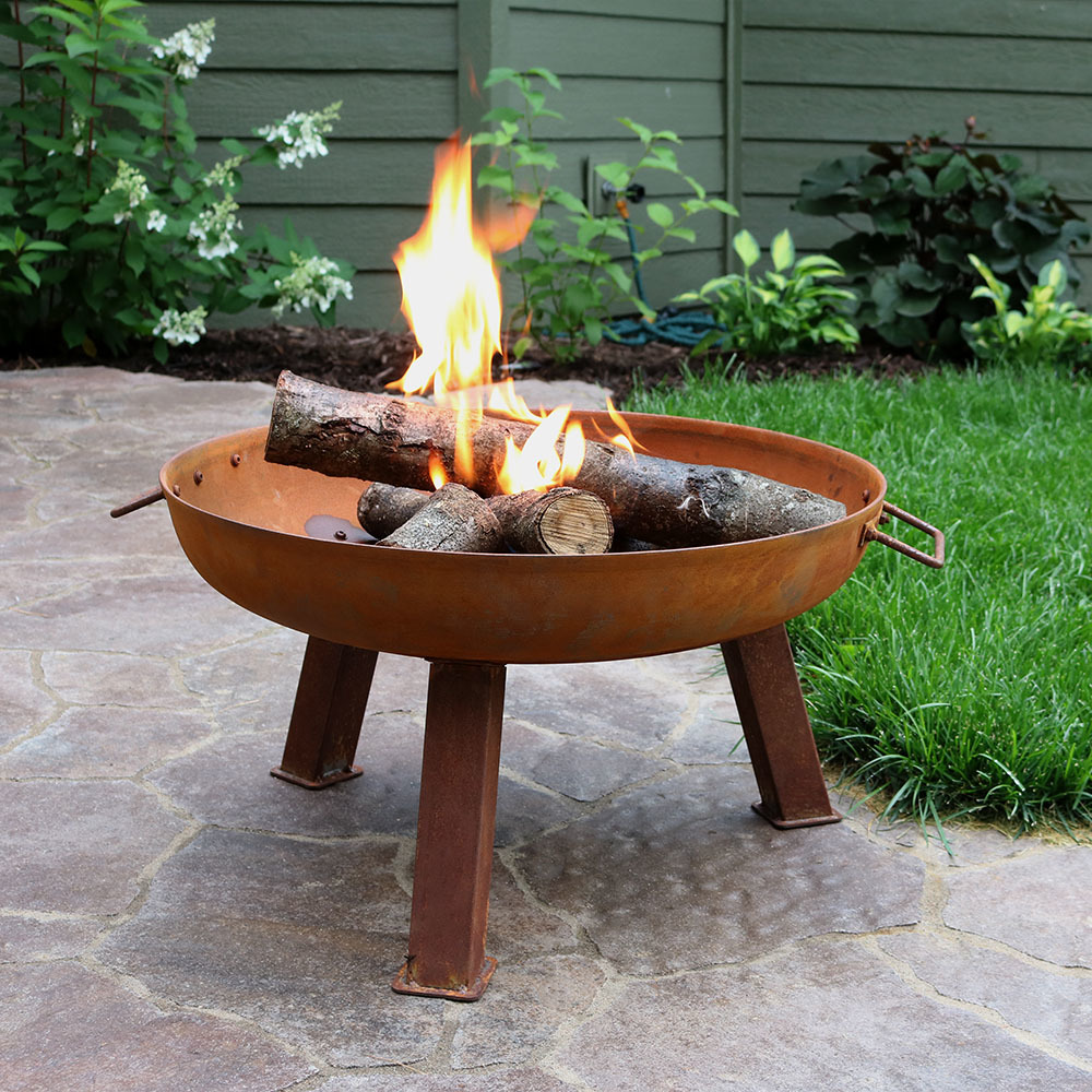 Sunnydaze Small Rustic Cast Iron Wood Burning Fire Pit Bowl Diameter Photo