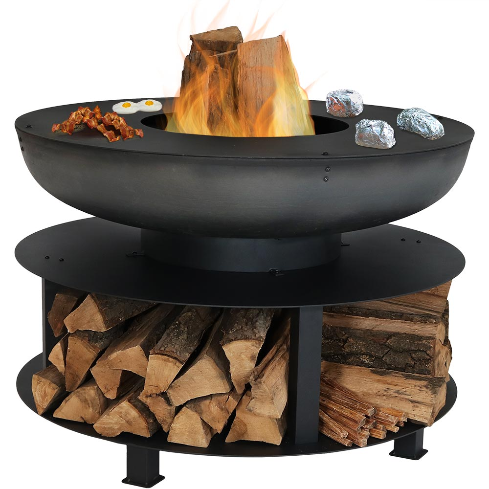 Fire Pit Cooking Ledge Built In Log Storage Wood Burning Fireplace Black Photo