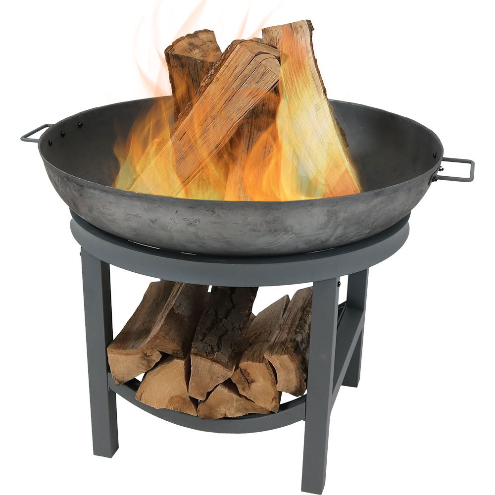 Iron Fire Pit Bowl Built In Log Rack Wood Burning Fireplace Photo