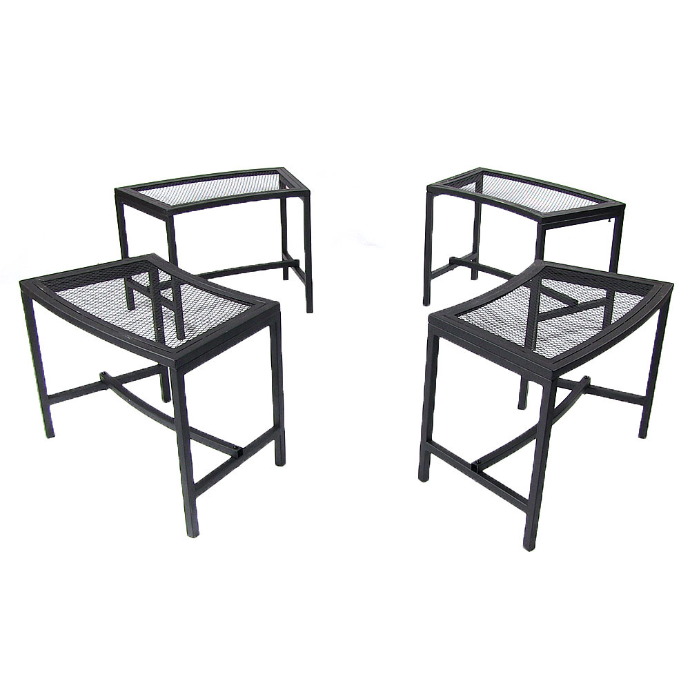 Fire Pit Bench Patio Seating Black Mesh Photo