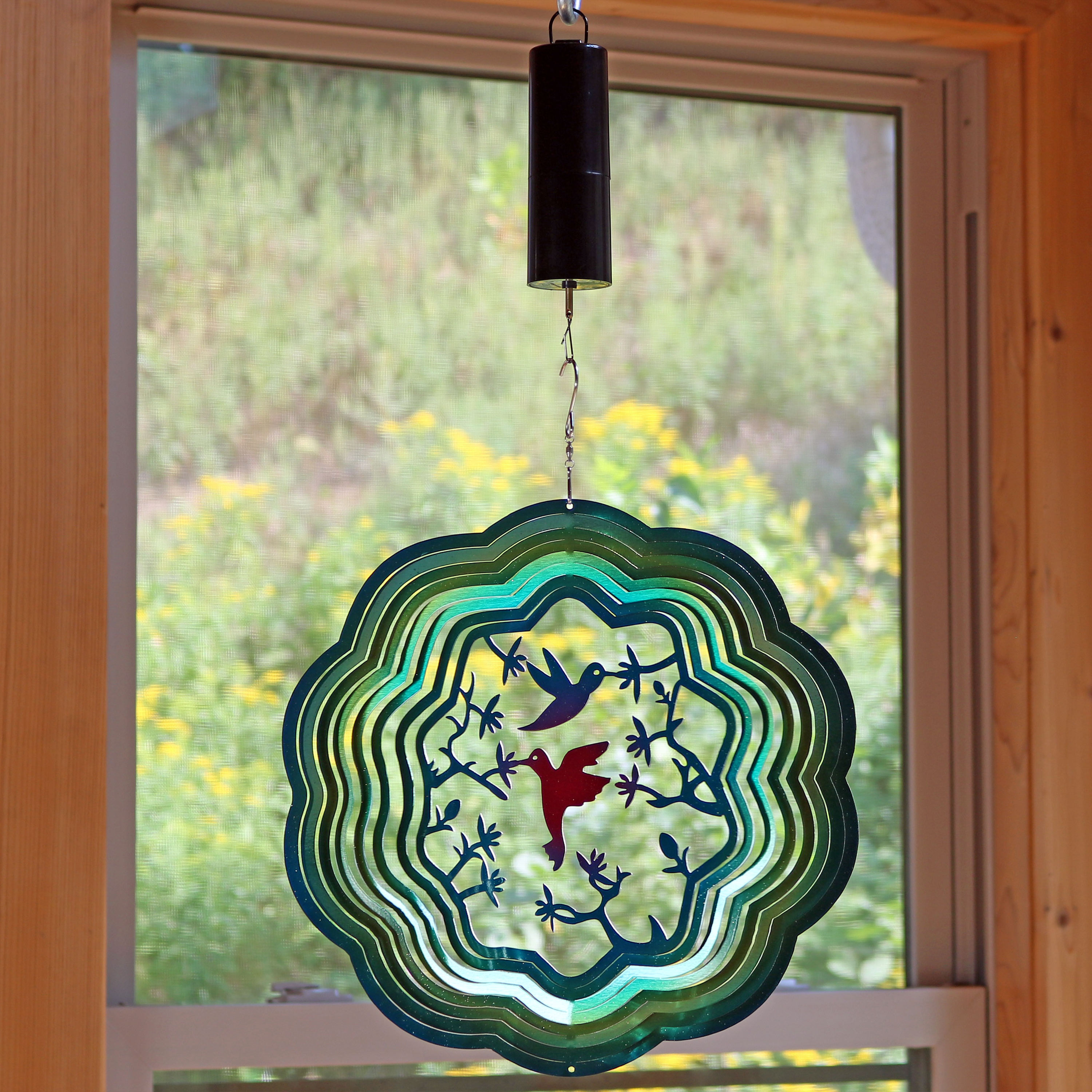 Sunnydaze Turquoise Hummingbird Wind Spinner with Hook, 12-Inch, Yes, Battery Operated Motor