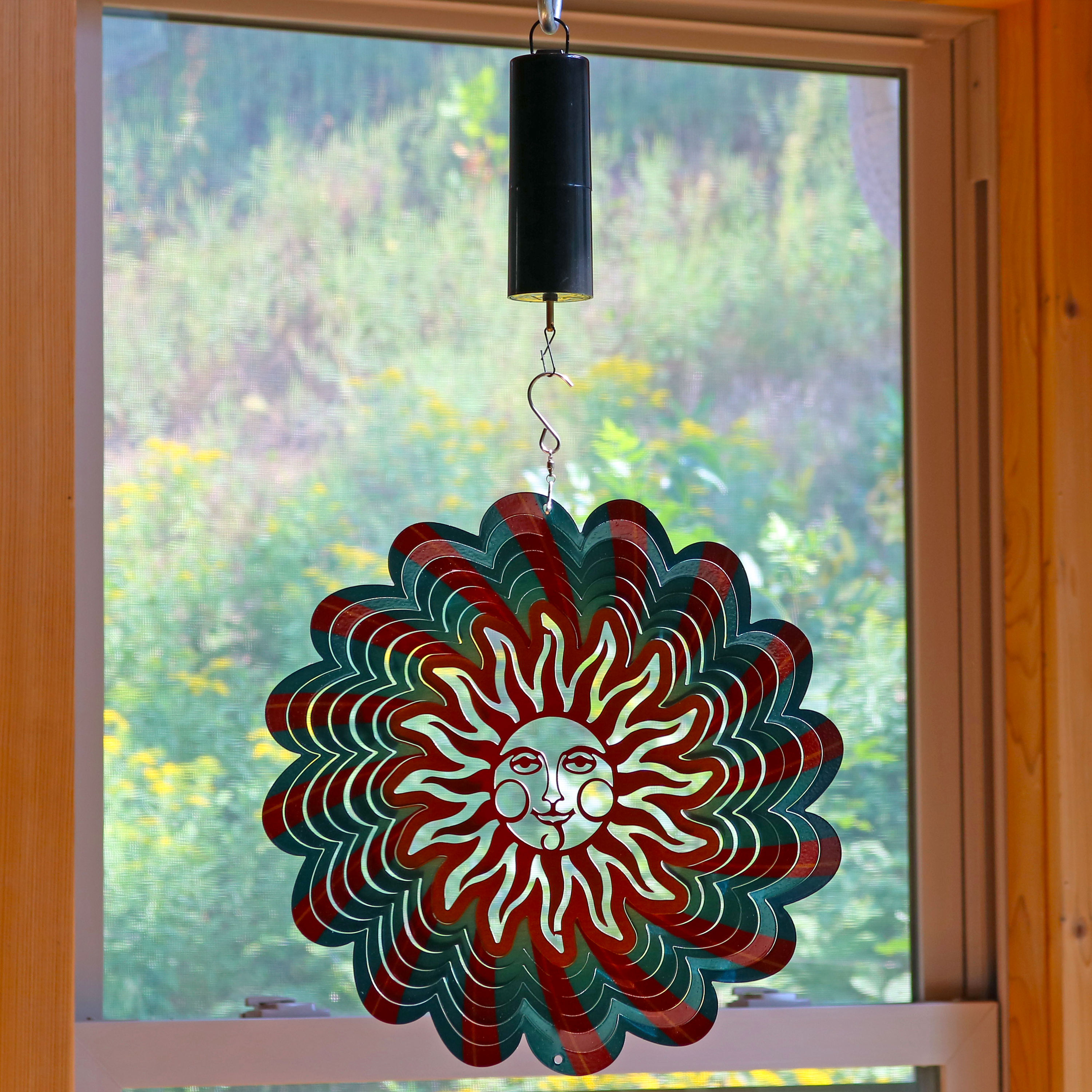 Sunnydaze 3D Multi-Color Sun Wind Spinner with Hook, 12-Inch, Yes, Battery Operated Motor