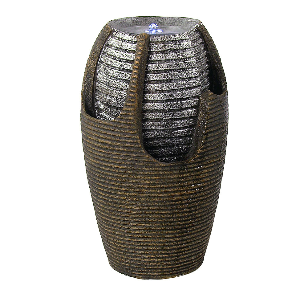 Bubbling Pot Solar Power Water Fountain Led Light Silver Accents Tall Photo