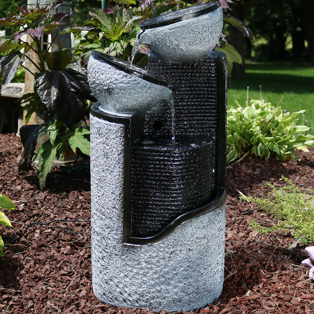 Sunnydaze Dark Stone Pillar Silver Bowls Solar On Demand Fountain Picture 377
