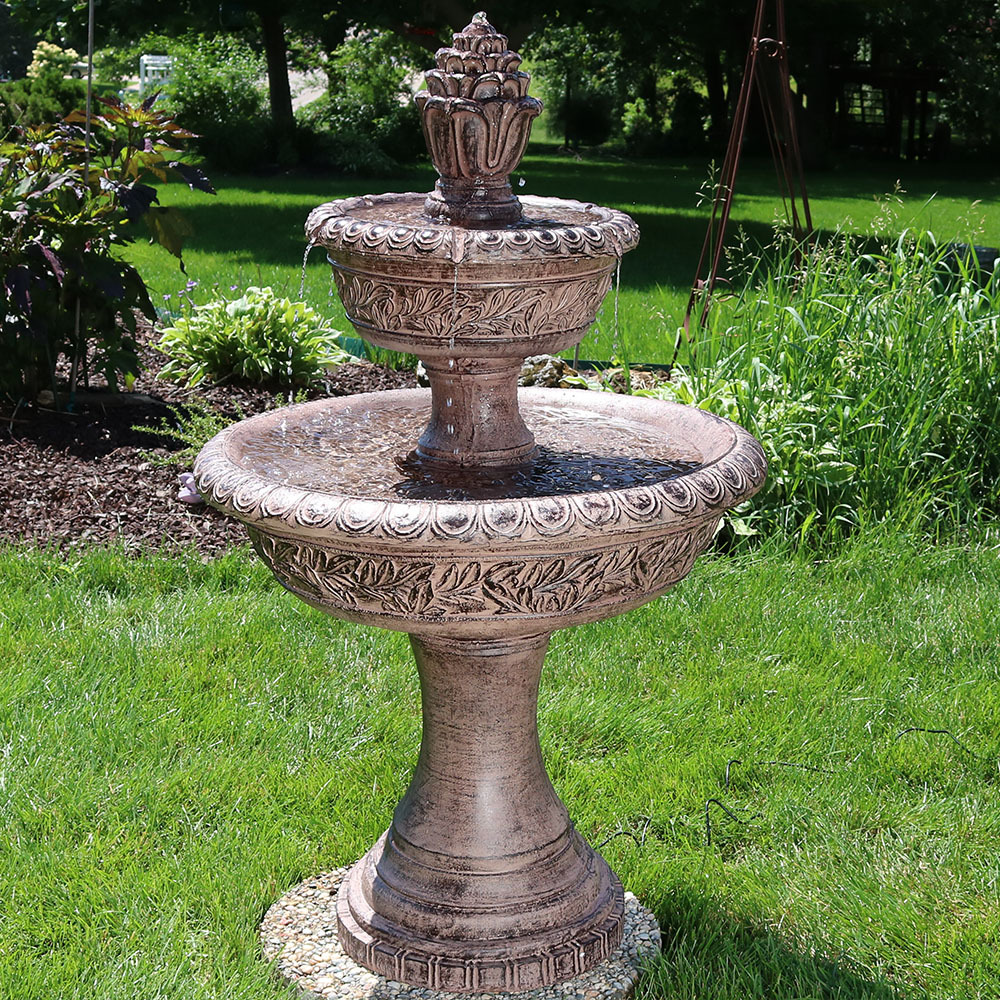 Sunnydaze Floral Tiered Solar On Demand Water Fountain Picture 214