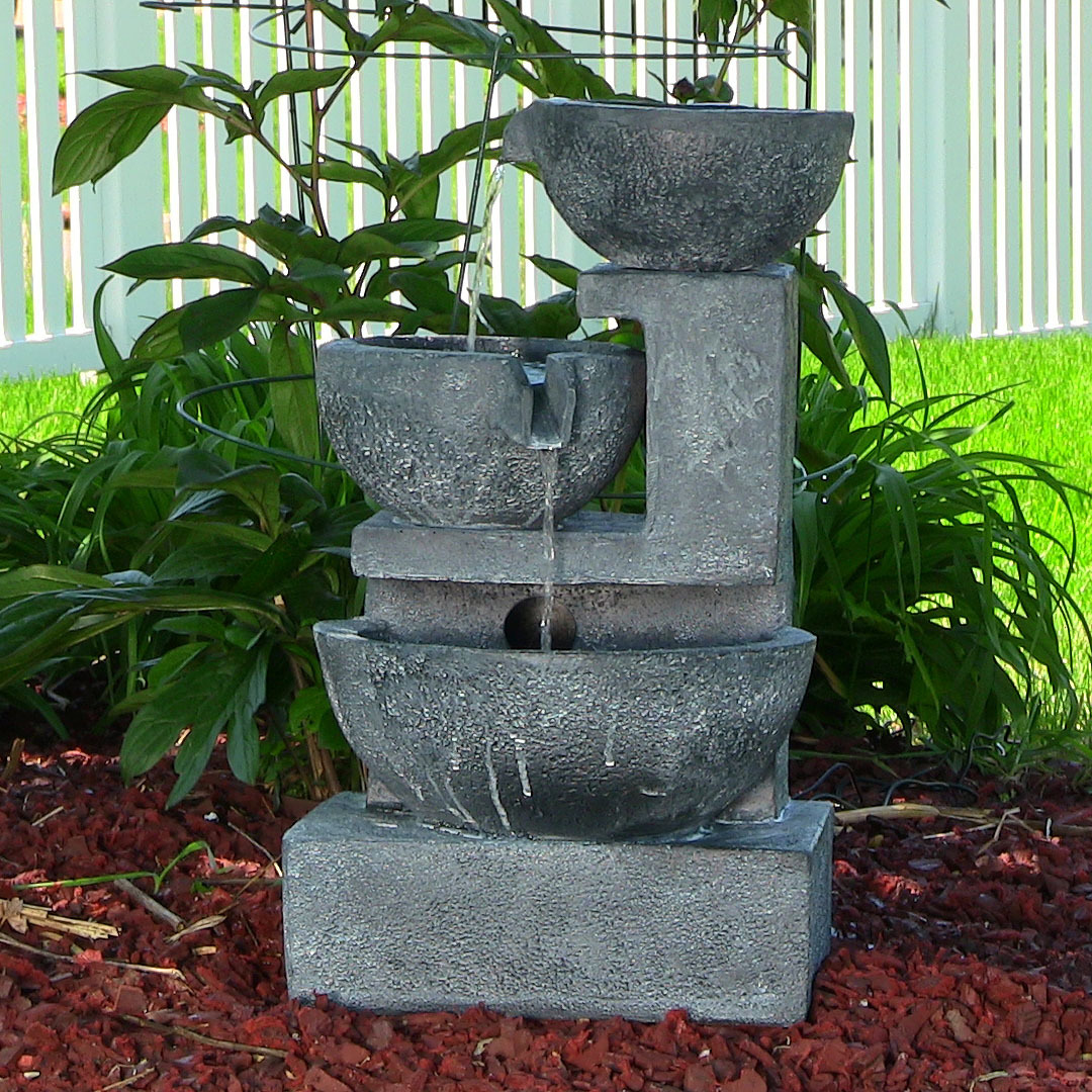 Sunnydaze Old World Cascading Bowls Solar On Demand Fountain Tall Picture 379