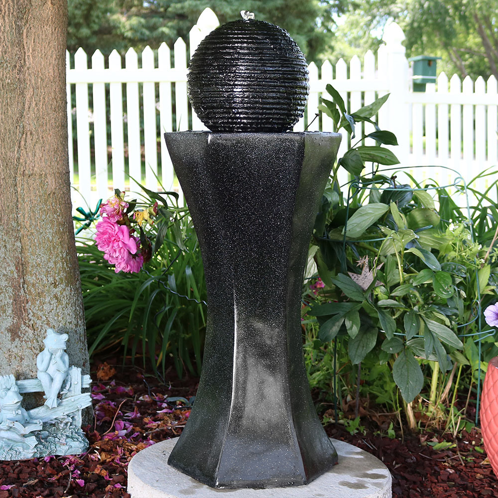 Sunnydaze Pedestal Ball Solar On Demand Water Fountain Image 138