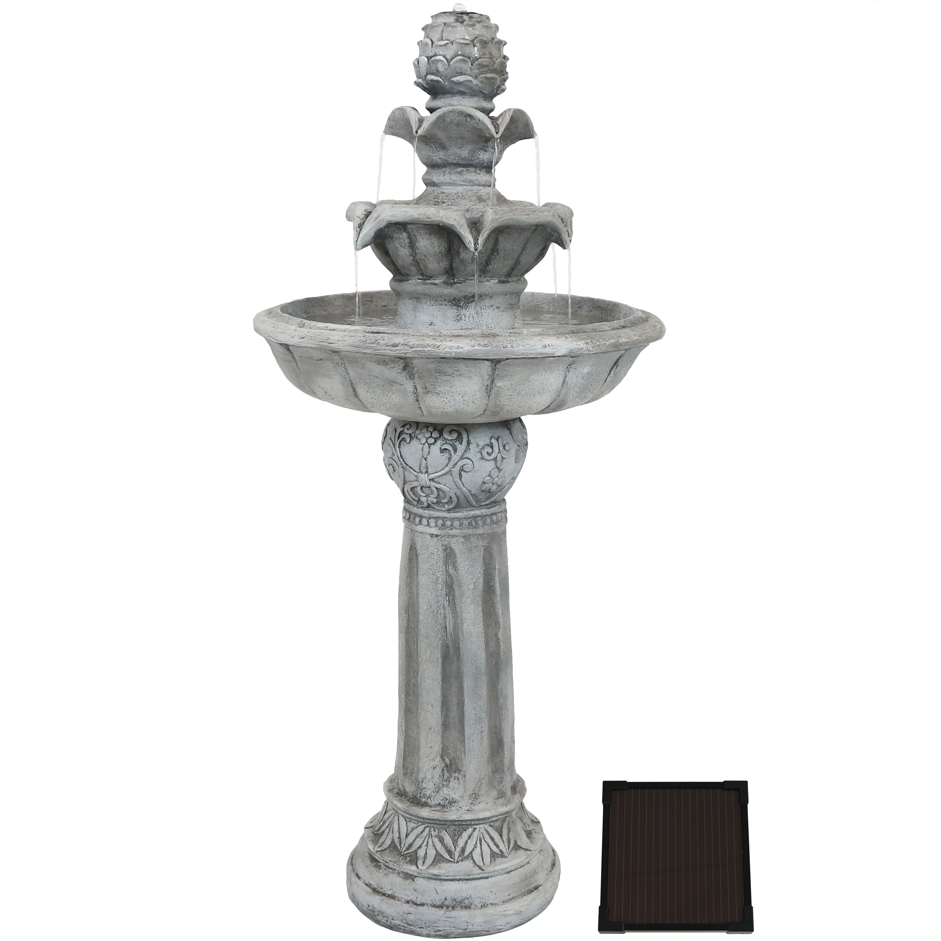 Sunnydaze Ornate Elegance Tiered Outdoor Solar-on-Demand Water Fountain with LED Light and Submersible Electric Pump, White Finish, 42-Inch