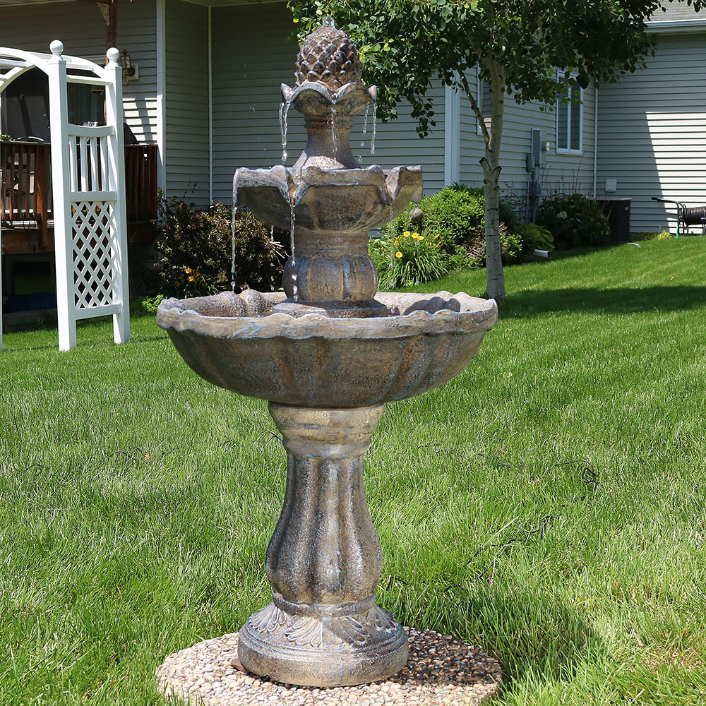 Sunnydaze Tier Pineapple Water Fountain Solar On Demand Fountain Image 996